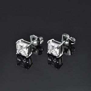 Jewelry - Princess Cut 18k Gold Diamond Stud Earring